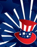 Uncle Sam hat background. Uncle Sam hat with active blue  background Stock Photography