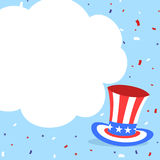 Uncle sam hat and confetti american banner Stock Image