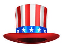 Uncle Sam hat. Creative abstract USA traditional symbol and US flag color concept: Uncle Sam hat with red stripes and blue stars isolated on white background Stock Images