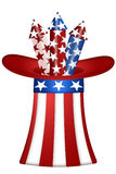 Uncle Sam Hat with Fireworks. Uncle Sam Hat with Red White Blue Fireworks Illustration Royalty Free Stock Images