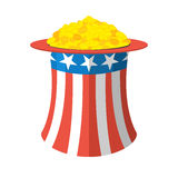 Uncle Sam hat and gold. Cylinder Uncle Sam and gold coins on whi Stock Photo