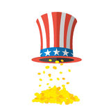Uncle Sam hat and gold. Cylinder Uncle Sam and gold coins on whi Stock Image