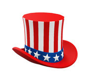 Uncle Sam Hat. Isolated on white background. 3D render Royalty Free Stock Photo