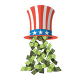Uncle Sam hat and money. American hat. Hat for independence day. Cylinder Uncle Sam and dollars. Cash drop of hat. Uncle Sam hat on white background. National Royalty Free Stock Images