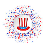 Uncle Sam hat for the 4th of July with circle made of blue, red and white dots. USA Independence day greeting card. Patriotic vector illustration Stock Photo