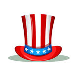 Uncle Sam hat for the 4th of July. USA Independence day greeting card. Patriotic vector illustration Stock Photography