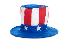 Uncle Sam Hat on White. A felt Uncle Sam hat on a white background, United States of America Independence Day decoration or costume royalty free stock image