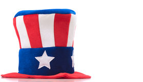 Uncle Sam Hat on white. Uncle Sam hat on a white backround. United States symbol. Fourth of July constume stock image