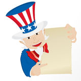 Uncle Sam Holding Sign. Stock Images