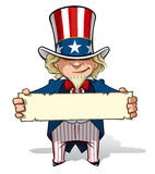 Uncle Sam Holding a Sign. Clean-cut, overview cartoon illustration of Uncle Sam holding a sign Stock Photos