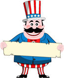 Uncle Sam Holding a Sign Stock Images