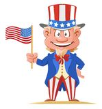 Uncle Sam holds American flag. Cartoon styled vector illustration. On white background. No transparent objects stock illustration
