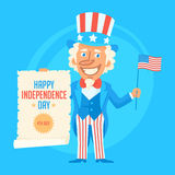 Uncle Sam Holds Flag and Paper Scroll Royalty Free Stock Images