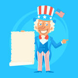Uncle Sam Holds Paper Scroll and Indicates Stock Photo