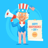 Uncle Sam Holds Scroll Paper and Megaphone Royalty Free Stock Photo