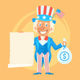 Uncle Sam Holds Scroll Paper and Money Royalty Free Stock Photos