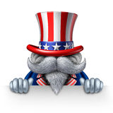 Uncle Sam Horizontal Sign. Uncle Sam character holding a blank horizontal sign as a patriotic icon of an American symbol of political government elections or stock illustration