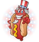 Uncle Sam Hot Dog Cartoon on July Fourth Stock Photos
