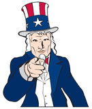 Uncle Sam - I Want You. Vector image of Uncle Sam, pointing at the viewer Royalty Free Stock Photography