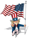 Uncle Sam I Want You - American Flag Stock Photo