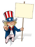 Uncle Sam I Want You Placard. Clean-cut, overview cartoon illustration of Uncle Sam pointing the finger in a classic WWI poster style and holding a placard Stock Images
