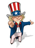 Uncle Sam I Want You Presenting. Clean-cut, overview cartoon illustration of Uncle Sam pointing the finger in a classic WWI poster style and presenting Royalty Free Stock Photo