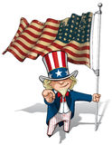 Uncle Sam I Want You - US WWI-WWII (48 Star) Flag Stock Photo