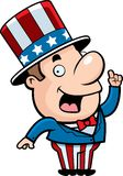 Uncle Sam Idea. A cartoon Uncle Sam with an idea Stock Image