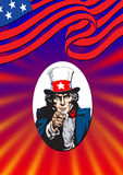 Uncle Sam ill. Uncle Sam in the classic I Want You pose in color Royalty Free Stock Photo