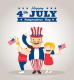 Uncle Sam Karikatur mit Kindern, glückliches 4. von Juli-Unabhängigkeitstag Lizenzfreies Stockbild