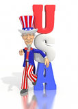 Uncle Sam leaning on USA text. Uncle Sam dressed in a red, white and blue suit, leans against the text USA.  Sam is pointing at the viewer.  On a white Stock Photography