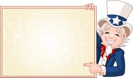 Uncle Sam med tecknet royaltyfri illustrationer