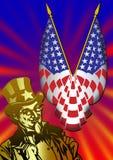 Uncle Sam Mit Markierungsfahne Lizenzfreie Stockfotos