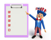 Uncle Sam mit Notizblock Lizenzfreie Stockfotos