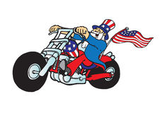 Uncle Sam on motorcycle. Uncle Sam riding a chopper motorcycle stock illustration