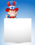 Uncle Sam with Paper Banner Royalty Free Stock Images