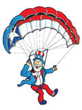 Uncle Sam parachuting. Uncle Sam flying a patriotic parachute or paraglider Stock Image