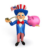Uncle Sam with piggy bank Royalty Free Stock Image