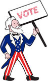 Uncle Sam Placard Vote Standing Cartoon Stock Images