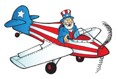 Uncle Sam in plane. Uncle Sam flying a patriotic airplane Stock Image
