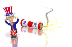 Uncle Sam plugs ears with firecracker. Uncle Sam plugs his ears and turns away from a lit firecracker.  Isolated on white background with a clipping path Stock Image