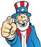 Uncle Sam pointing. His finger towards you stock illustration
