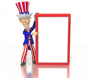 Uncle Sam points at blank sign Stock Photos