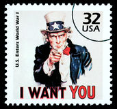 Uncle Sam Postage Stamp. UNITED STATES AMERICA - CIRCA 1985: A postage stamp printed in the USA showing Uncle Sam, circa 1985 Royalty Free Stock Photos