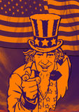 Uncle Sam for poster. Uncle Sam in the classic I Want You pose in orange Royalty Free Stock Photos