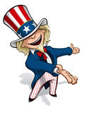 Uncle Sam Presenting. Clean-cut, overview cartoon illustration of Uncle Sam presenting Royalty Free Stock Images