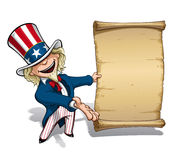 Uncle Sam Presenting Declaration. Vector Cartoon Illustration of Uncle Sam presenting a declaration-like papyrus Stock Images