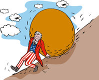 Uncle Sam pushing up a rock Royalty Free Stock Images