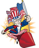 Uncle Sam. Riding with dynamite stick riding a rocket Stock Photo