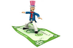 Uncle Sam riding money. Patriotic Uncle Sam riding on money for the 4th of July on white background. Clipping path included Royalty Free Stock Image